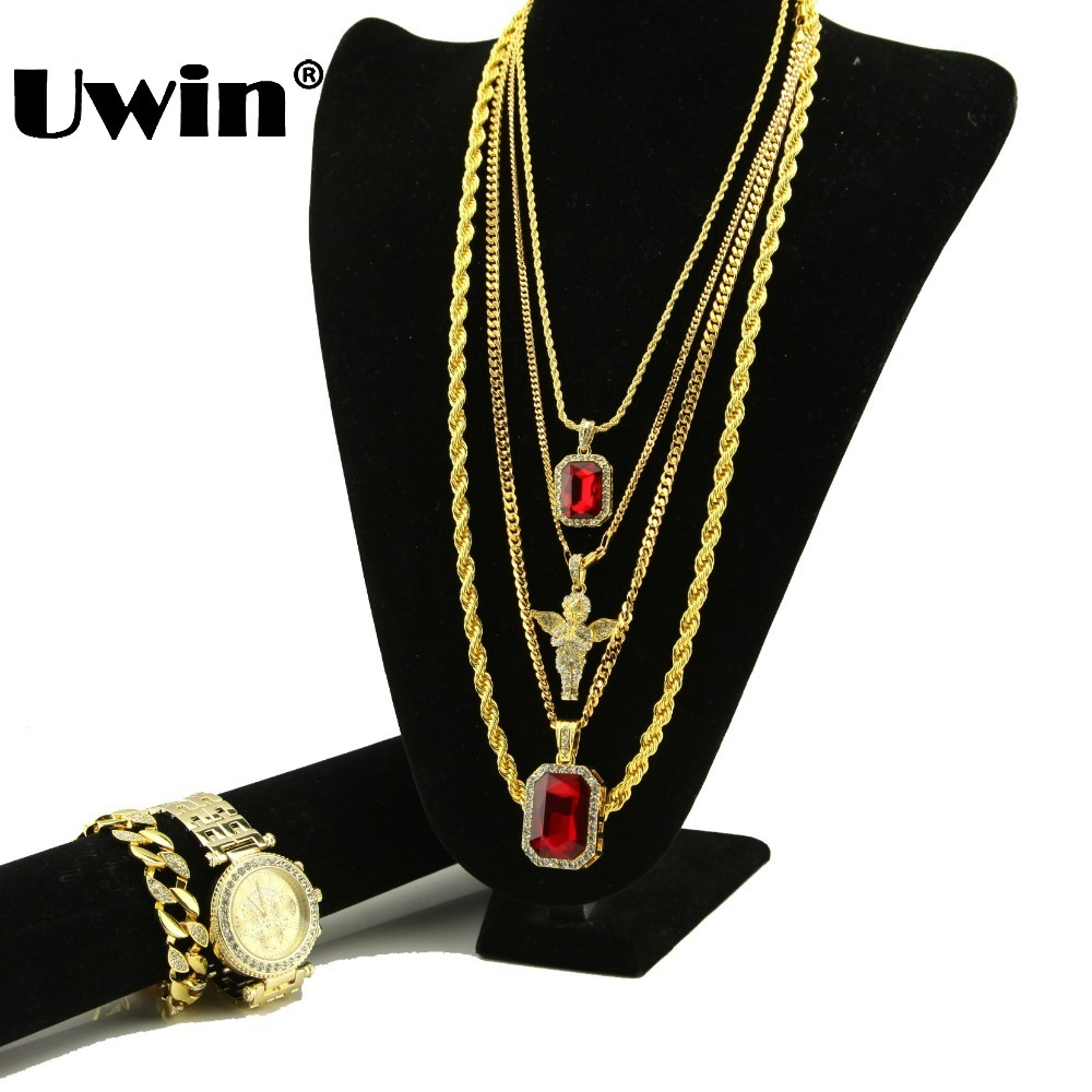 Hiphop 6 Pieces Set Red Stone Micro Praying Angel Pendant Rope Chain Big Square Gem Cuban Chain Iced Out <font><b>Bracelet</b></font> & <font><b>Watch</b></font> Set image