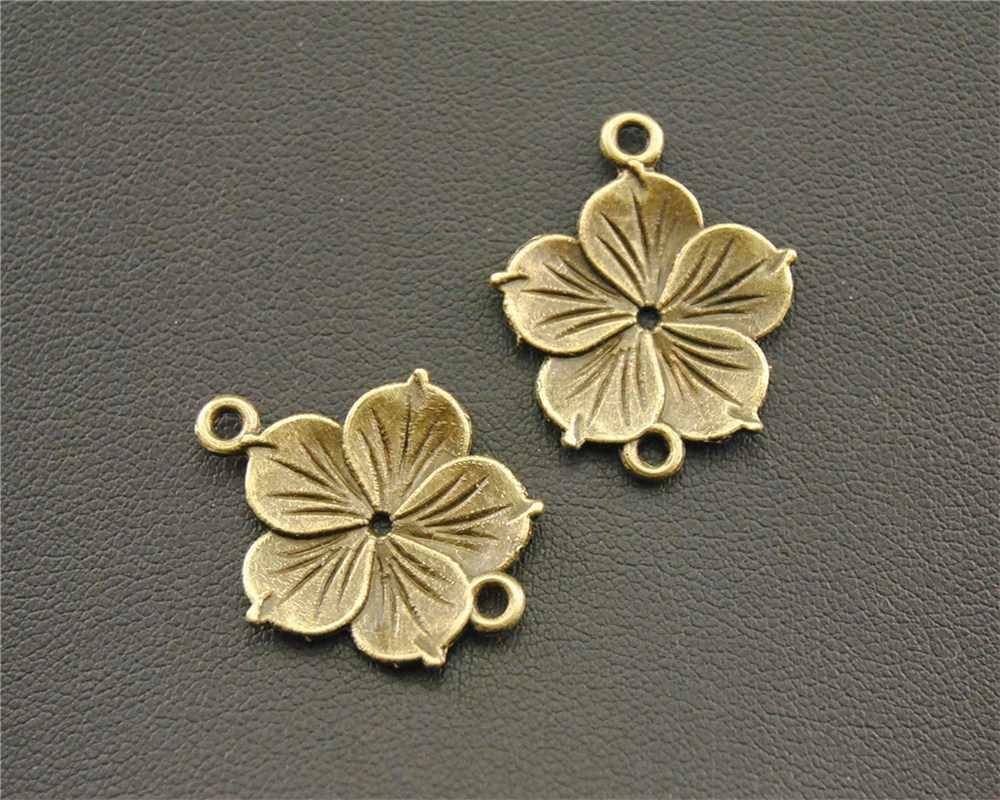 10 ชิ้น Antique บรอนซ์ดอกไม้เสน่ห์ Connector สร้อยคอเสน่ห์สร้อยคอสร้อยข้อมือทำด้วยมือ 23x18 มิลลิเมตร a1300