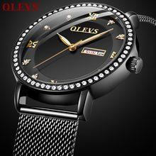 e1a13cbe9ff OLEVS marca top relógio de luxo homens calendário black dial diamante  relógios de alta qualidade homens