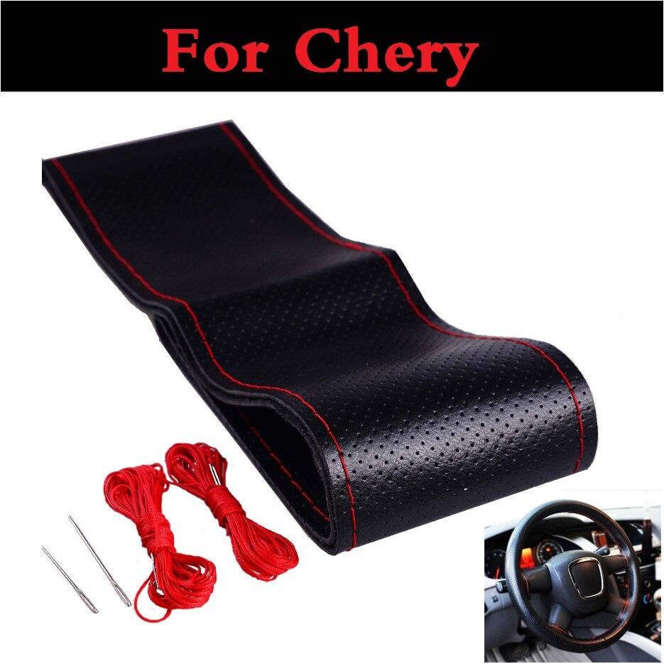 Car Steering Wheel Cover With Needles and Thread For Chery Amulet Arrizo 7 Bonus CrossEastar Eastar Fora IndiS Kimo
