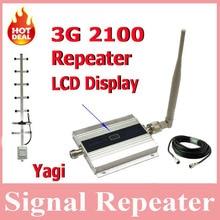 Pantalla LCD! Mini W-CDMA 2100 Mhz Señal de Teléfono Móvil, WCDMA 3G Repetidor de Señal + Antena Yagi con 10 Metros de Cable