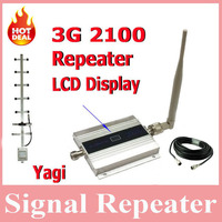 LCD Display Mini W CDMA 2100Mhz Mobile Phone Signal Booster WCDMA 3G Signal Repeater Yagi