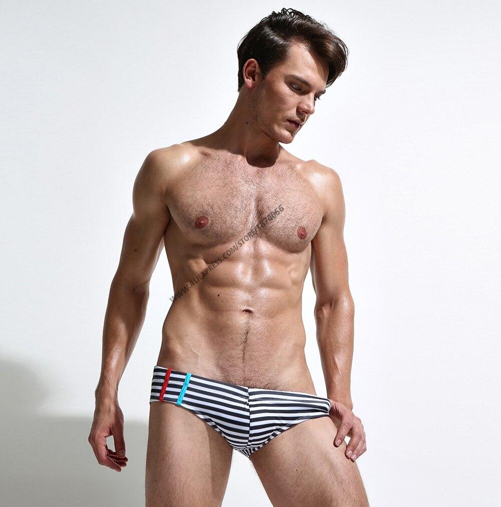 Новая летняя мужская одежда для плавания, спортивные мужские плавки, плавки с низкой посадкой, мужской купальник в полоску, мужской купальн... 15