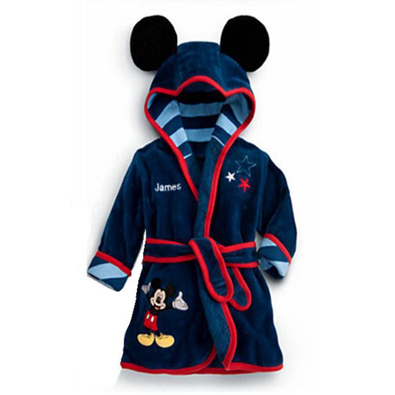 5 T Nette Cartoon Fleece Bad Robe Kinder Junge Navy Bademäntel für Kinder Hoodies Nachtwäsche Baby Kleidung Kleinkind Kleidung Bebe tragen