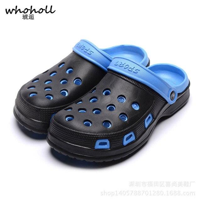 WHOHOLL EVA Crocus Clogs Men Slip On Garden Shoes Lightweight Beach Sandals  For Men Casual Water 8d029595a