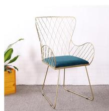 Modern iron art dining chair back to the of flannelette room modern leisure single .