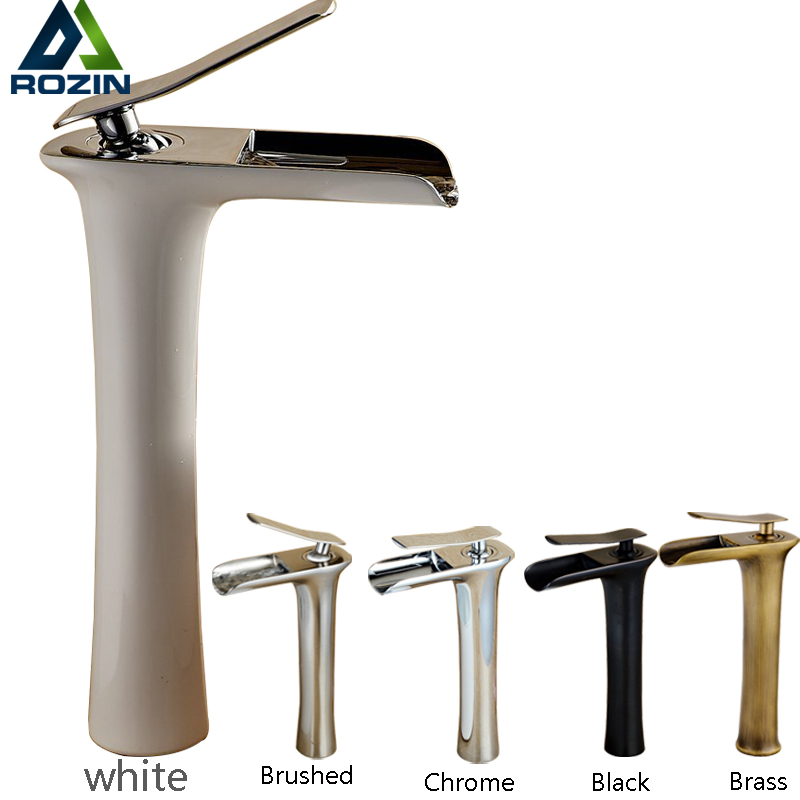 Grilled White Paint Waterfall Basin Faucet One Hole Single Handle Lavatory Sink Bathroom Faucet Mixer Tap Deck Mounted newly modern simple bathroom waterfall widespread basin sink faucet chrome polish single handle single hole mixer tap deck mount
