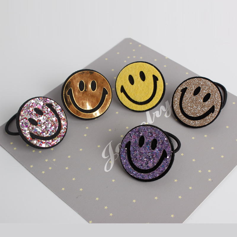 Children Hair Ropes Cute Smiley Face Elastic Rubber Hair Band Girls Hair Accessories Baby Headwear Kids Headdress 2015 fashion elastic hair bands for women candy color baby girl kids headbands hair ropes headwear hair accessories 20 colors