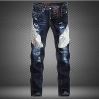 Europe And The United States Men S Jeans Blue Eagle Stitching Slim Straight Jeans Brand Jeans