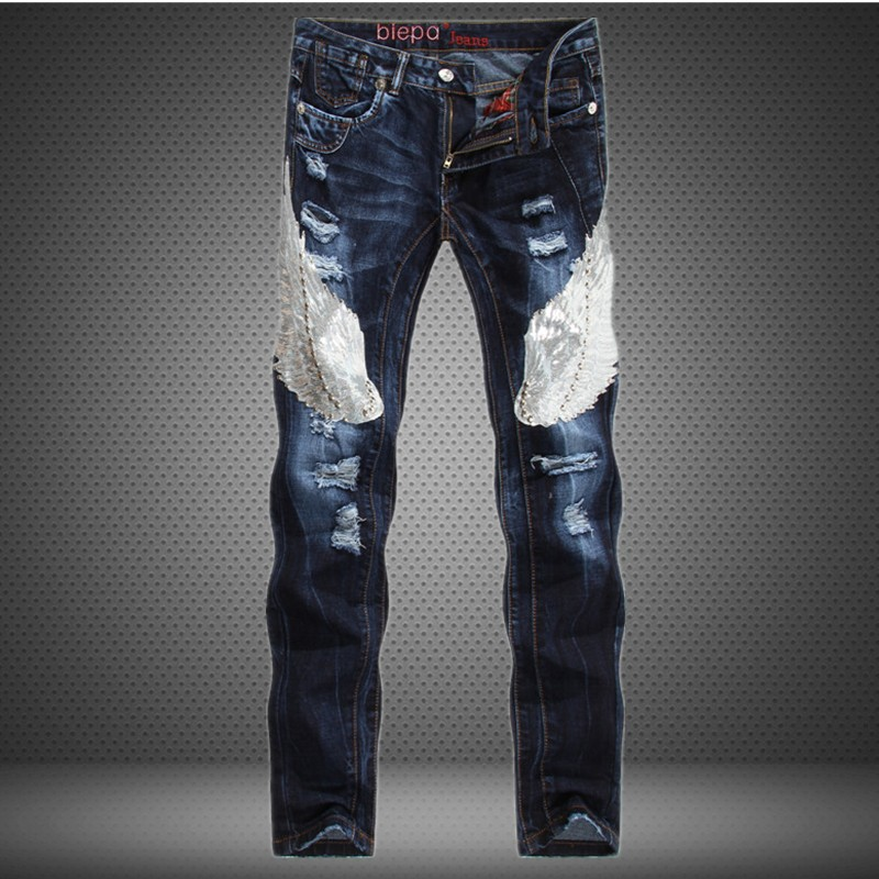 Free Shipping 2016 New Designer Jeans Men Wings Appliques Famous Brand Skinny Ripped Jeans Fashion Men Biker Denim Jeans 2016 new dsel brand men jeans men fashion skinny jeans men men straight fit leisure quality cotton biker jeans denim