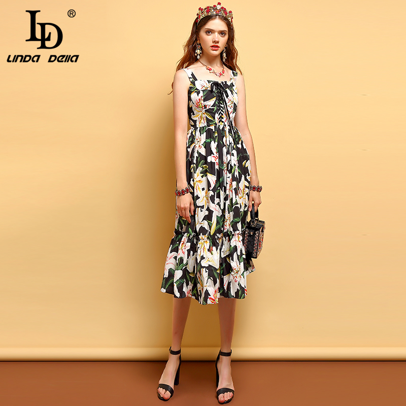 LD LINDA DELLA Summer Fashion Dress Women s Sexy Spaghetti Strap Bow Tie Ruffles Pleated Floral