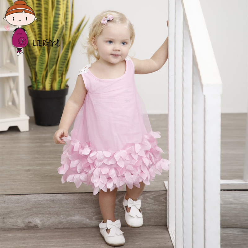 LILIGIRL Girls Dress New Summer Mesh Girls Clothes Pink Petal Princess Dress Children Summer Clothes Baby Girls Dress