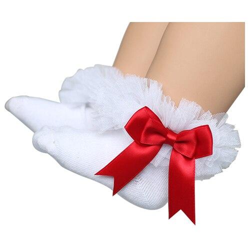KACAKID Children Kids Girls Baby Princess Lace Girls Ruffle Socks Anti Slip Socks For Kids Children Socks For Girls White Red L
