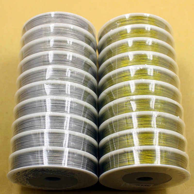 1 rotolo di Oro di Alta Qualità/Acciaio Inox Filo di Colore Corda 0.3 0.38 0.45 0.5 0.6 0.7 0.8mm Perline Fatta A Mano filo di Accessori Gioielli FAI DA TE