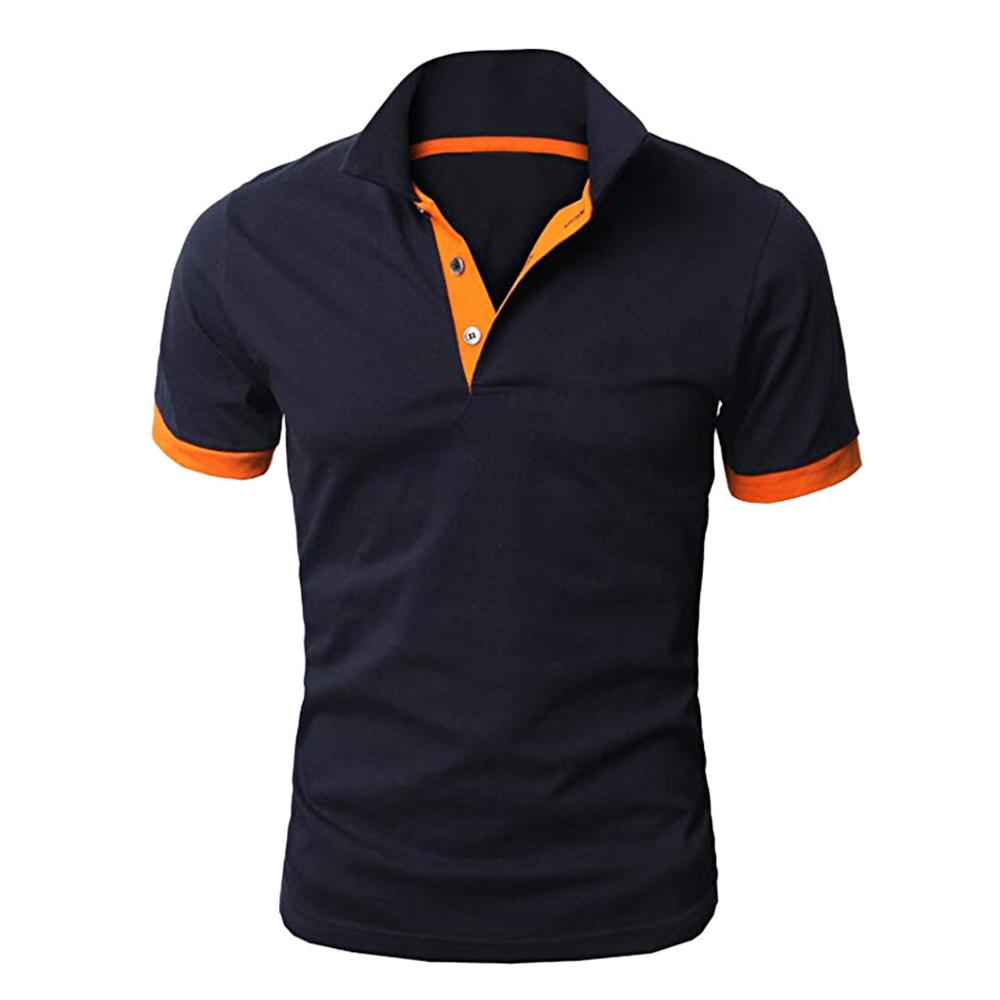 Men's Personality Short Sleeve Shirts Casual Solid Color Pullovers Shirt   Polo   Shirt Men's Short Sleeve Slim Fit Tops