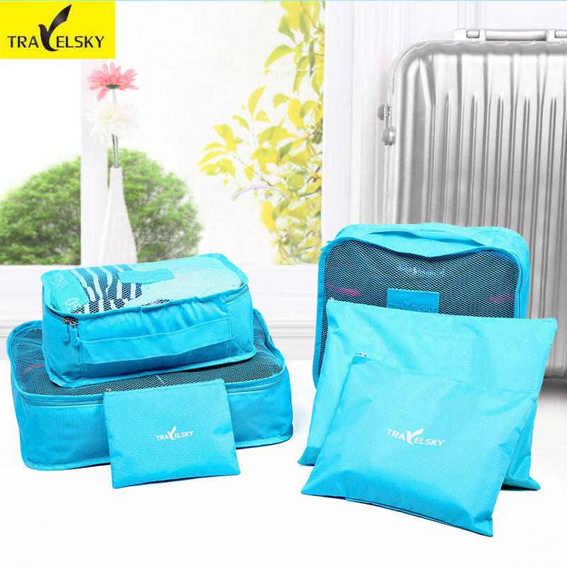 Travelsky 6ks / sada Cestovní kufr Skříň Rozdělovač Kontejner Skladovací taška Sada pro oblečení Tidy Organizér Balení Cubes Prádlo Bag