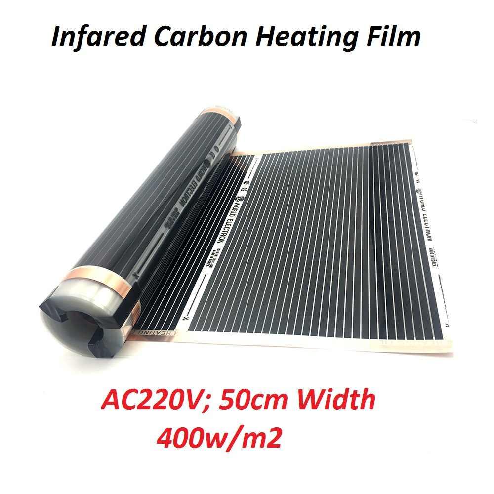 400 Вт/м2 инфракрасная углеродная пленка для подогрева полов AC220V теплый напольный коврик