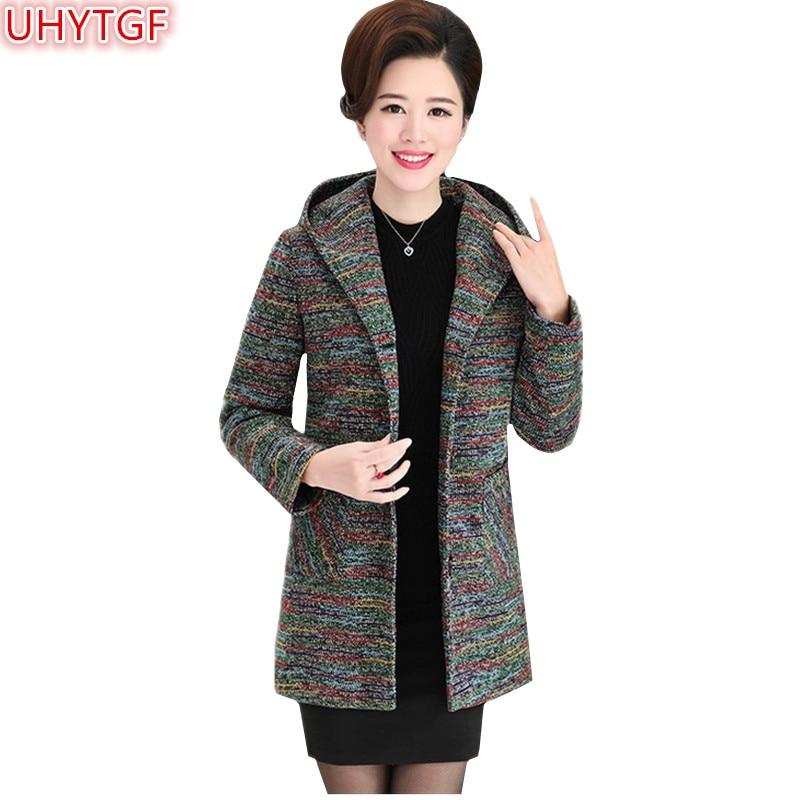 UHYTGF Spring Autumn Jacket Women Clothing Hooded Coat Single breasted Long sleeve Top Loose Casual Jacket