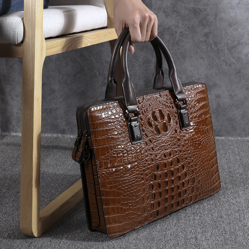Wmnuo New Briefcase Bag Men Handbag Crocodile Pattern Cow Leather Man Shoulder Messenger Computer Bag Men Crossbody Business Bag - 3