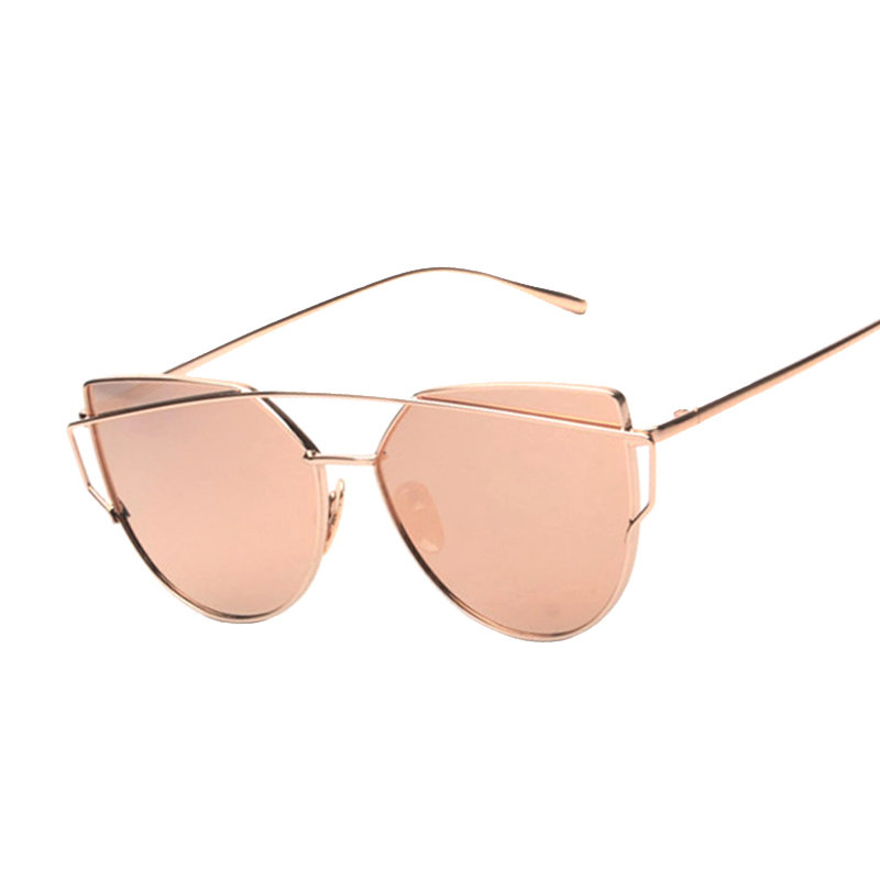 Cat Eye Women Sunglasses 2017 New Brand Design Mirror Flat Rose Gold Vintage Cateye Fashion Sun