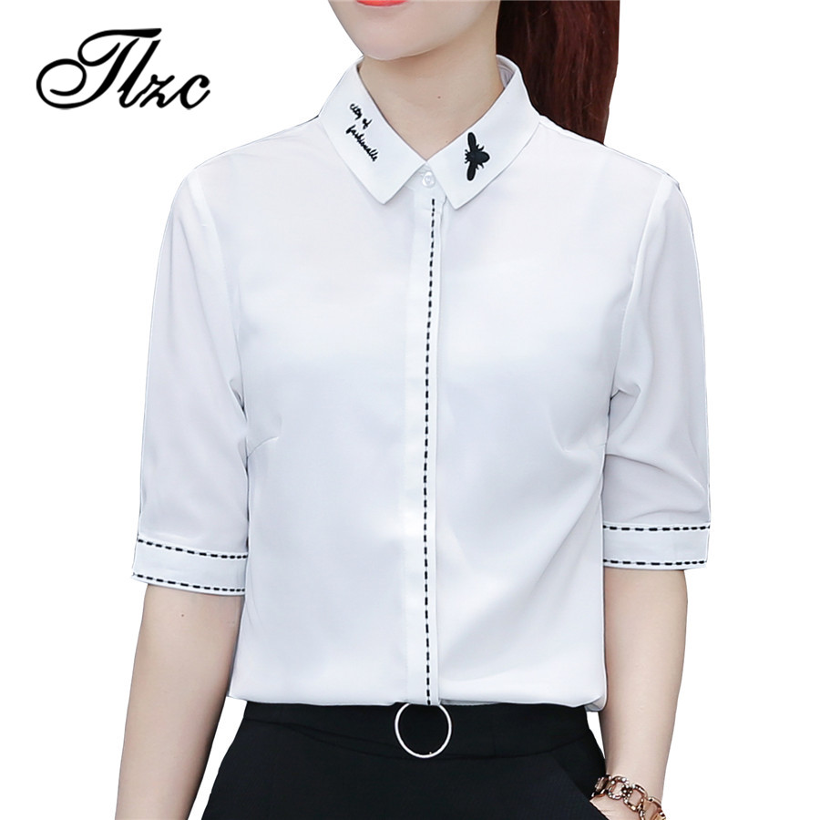 TLZC New Half Sleeve Female Embroidery Tops Size S-2XL Classical Office Ladies Casual Blouses and Shirts 2018 Women Fashion Tops