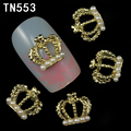 10pc/lot Glitter Alloy Gold Nail Art WIth Crown And Pearl,Rhinestones For Nails, 2015 New Fashion TN553