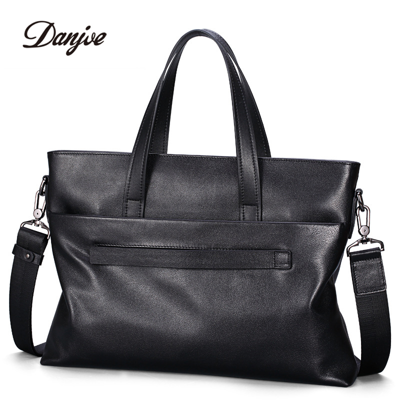 New Men Genuine Leather Briefcase Luxury Business Real Leather HandBags Work Office High Quality Shouder Messenger Bags