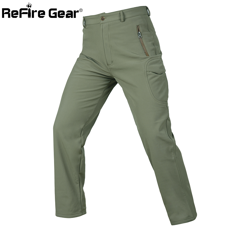 ReFire Gear Camouflage Military Tactical Pants Men Waterproof Army Cargo Pants Winter Windproof Softshell Warm Fleece Trousers