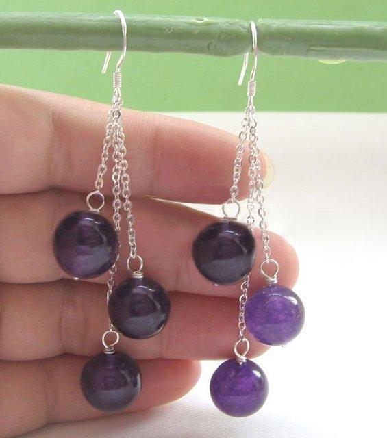 Hermosa 12 mm ronda perfecta jade púrpura oscuro pendientes
