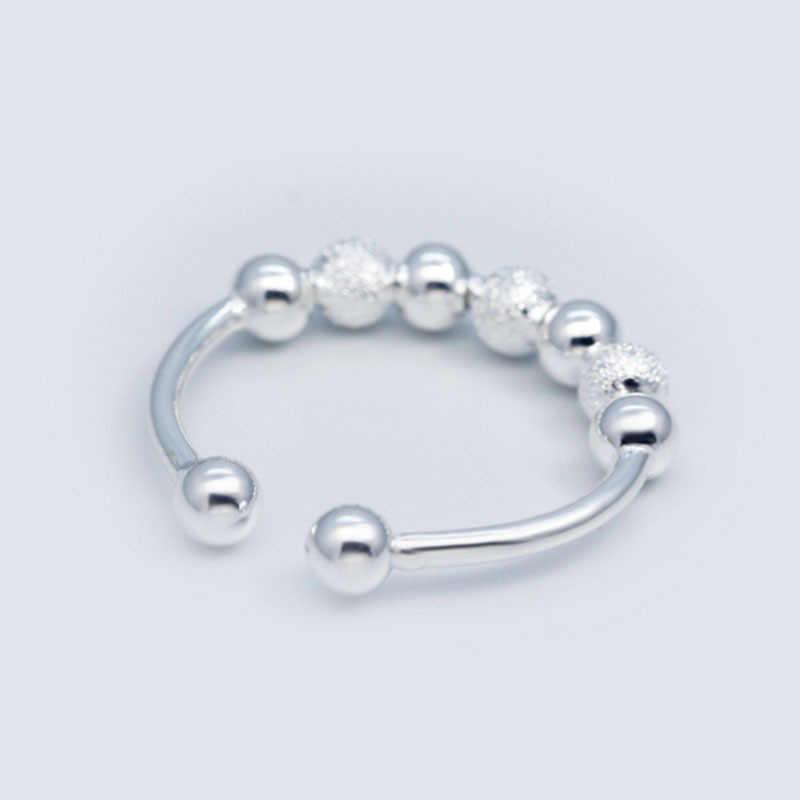 OMHXZJ ขายส่งยุโรปผู้หญิงผู้หญิงแฟชั่นผู้หญิงงานแต่งงานของขวัญเงินเปิดแหวนเงิน 925 RR266