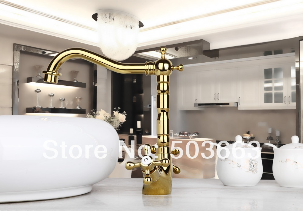 Hot Promotion Sales Golden Kitchen Swivel Basin Sink Deck Mounted Single Hole Ceramic Single Hole Faucet