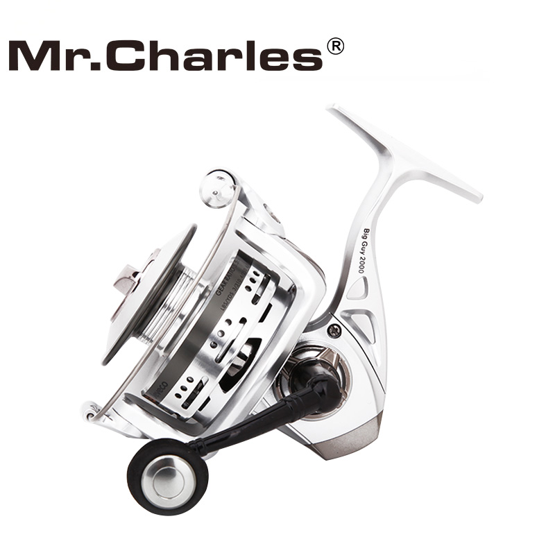 Mr.Charles BigGuy Spinning Fishing Reel, Lange Casting Reel Fishing 5.5: 1 6 + 1BB, Special Design Aluminium Spool voor Long Casting