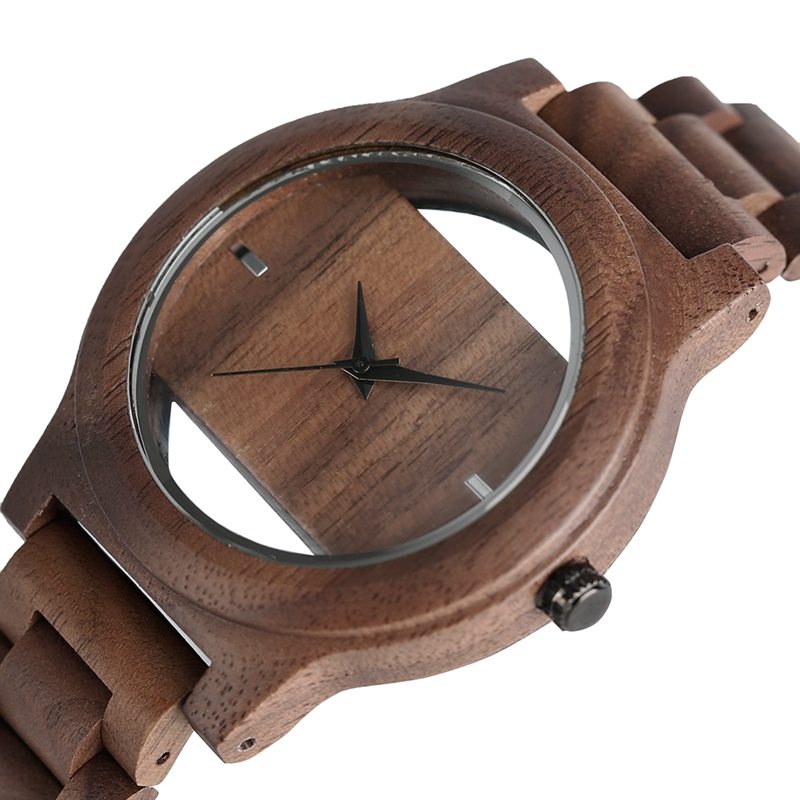 Unique Hollow Dial Men Women Natural Wood Watch med Full Wooden - Herrklockor