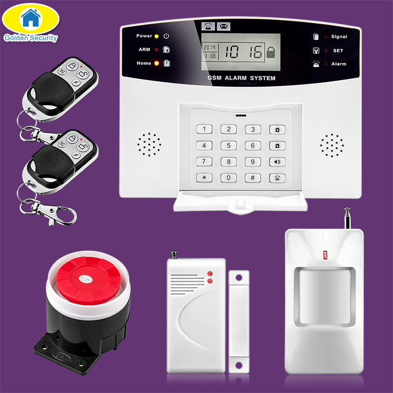 DP500Home Security Alarm systems Metal Remote Control Voice Prompt Wireless Door sensor LCD Display Wired Siren