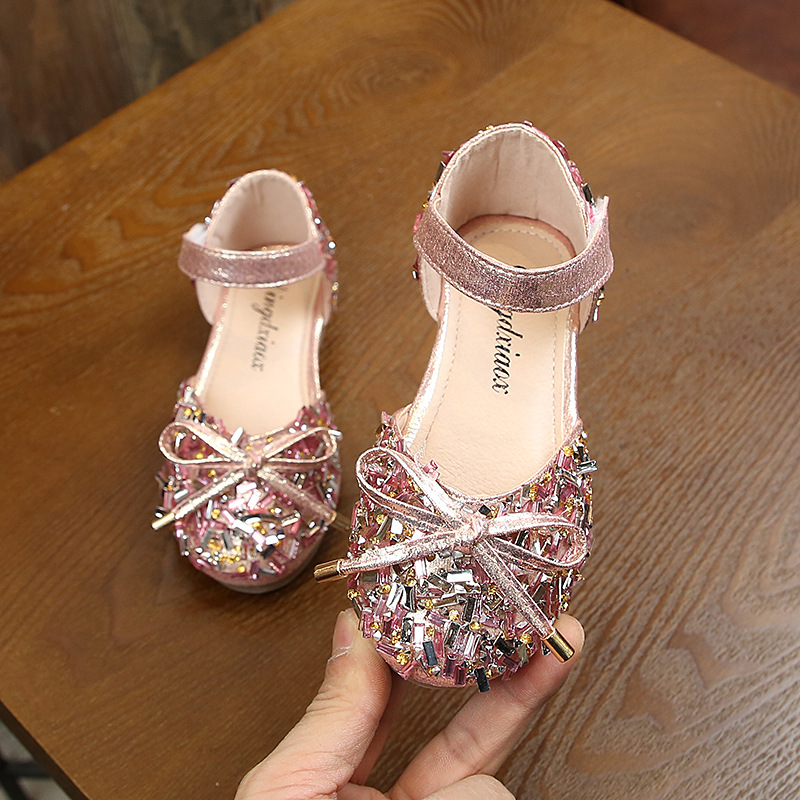 Children Princess Shoes Little Girls Sequins Wedding Party Kids Dress Shoes For School Girl Flower Bow Shoe 1 6 7 8 9 10 11 12
