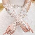 Moda Elegante Do Casamento Da Noiva Diamante Vestir Luvas Luxo Recorte de Renda Luvas Brancas Luvas Sem Dedos Casamento Acessórios