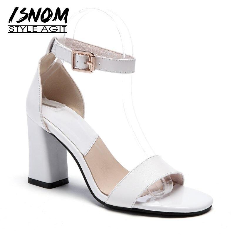 Ayakk.'ten Yüksek Topuklular'de ISNOM Ayak Bileği Kayışı Yaz Sandalet Kadın Sandalet Kadın 2019 Ayakkabı Kadın Ofis Toka Burnu açık Kalın Yüksek Topuklu Ayakkabılar Kadın beyaz'da  Grup 1