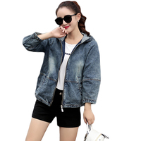 Plus Size S 3XL 2018 Spring Bomber Jacket Women Embroidered Denim Jacket Bombers Hooded Jaqueta Jeans Women Basic Coats CM2047