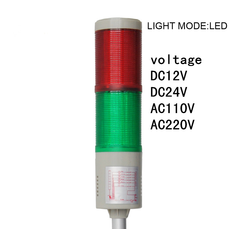 LTA-505-2  led warnig light amber DC12V DC24V AC220V two layer industrial strobe tower light alarm light tower light emergency lta 205j 2 dc12v 2 layer tower light signals bulb warning lamp alarm 90db red green u bottom