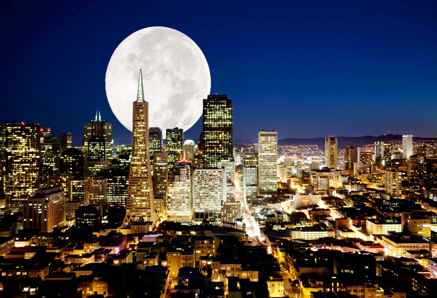 Laeacco Great Moon Night Light City Scenic Photography Backdrops Vinyl Backdrop Custom Photographic Backgrounds For Photo Studio
