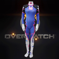 2018 D.VA Overwatch Cosplay Costume Female/Women/Girls/Lady D.Va Lycra 3D Printing Spandex Halloween Cosplay Anime Jumpsuits