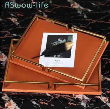 Simple Modern Leather Rectangular Trays Light Luxury Orange Blue Crafts Ornaments Cosmetics Jewelry Storage Tray Serving Tray