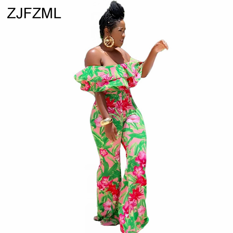 Detail Feedback Questions about ZJFZML Floral Print Summer Rompers Womens  Jumpsuit Slash Neck Ruffles Bodycon Flare Romper Vintage Short Sleeve  Backless ... 9fa52dbe53d6