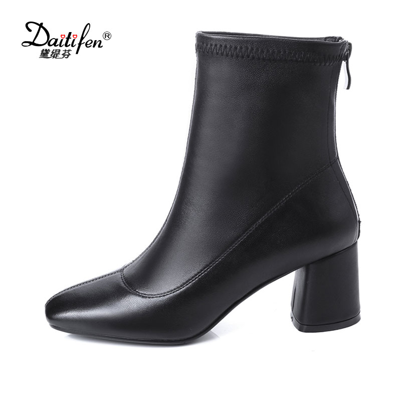 Daitifen 2018 Hot Sale Fashion Solid Color Square Toe Women Ankle Boot Genuine Leather Strange Chunky High Heel Zipper Boots
