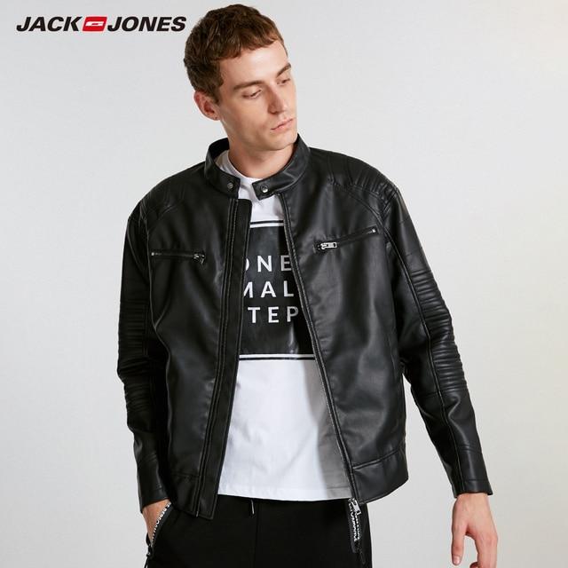 JackJones ผู้ชาย Hooded PU เสื้อหนัง Slim fit Casual Coat Outerwear Biker Hoodies บุรุษ 218321558