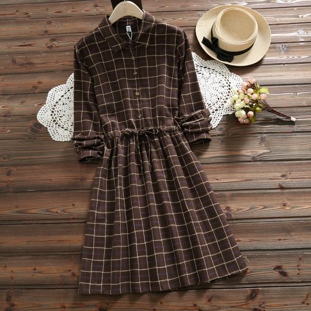 Spring autumn 5 colors women long sleeve plaid dress 2018 new arrival vintage ladies dresses