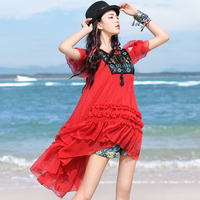 Free Shipping 2017 New Fashion High Low Summer Bohemia Loose Embroidered Strapless Chiffon Top Red Boshow Ruffles Women Blouse