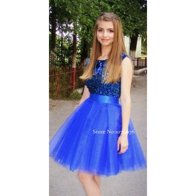 Real Smaple Pretty Girl s Sleeveless Tulle Homecoming Dresses A-Line Royal  Blue Sequined Prom Dress Cute Party Gowns Cheap 42156f299680