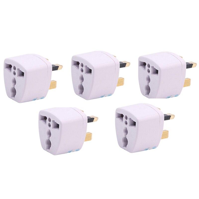 OOTDTY New 1/5pcs Universal AU US EU To UK Travel Wall Adapter Converter 3 Pin AC Power Plug 110~250V AC 10A