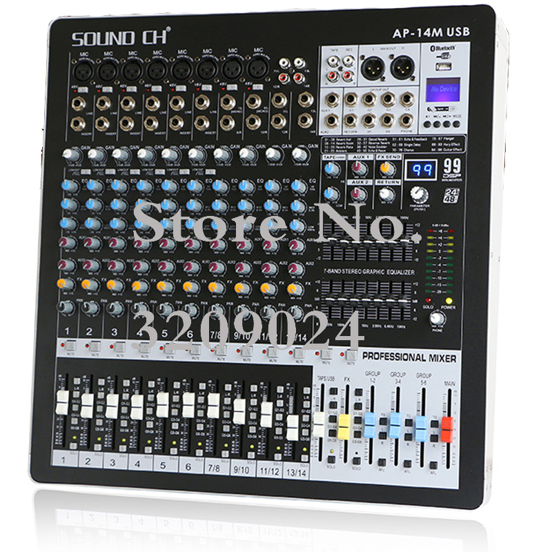 14 Channel Mixer 99 Kinds of Digital Effects 6 Group Output Dual 7 band Equalizer Bluetooth